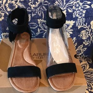 Kookaburra Ugg low wedge sandals-black size 9.5